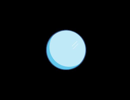 Une illustration d'une lentille bleutée.