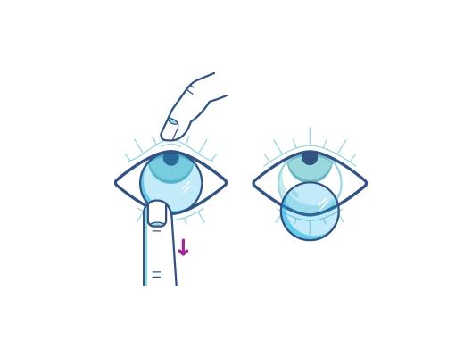 Retirez vos lentilles en plaçant votre index sur le bord inférieur de la lentille