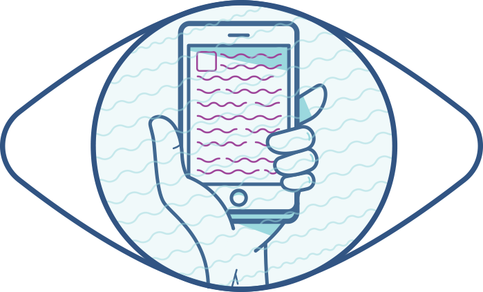 Illustration d'un œil et d'un téléphone éloigné