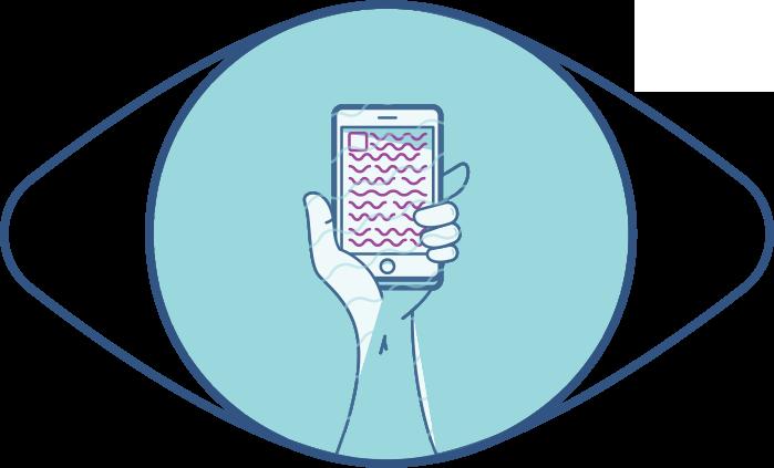 Illustration d'un œil et d'un téléphone rapproché