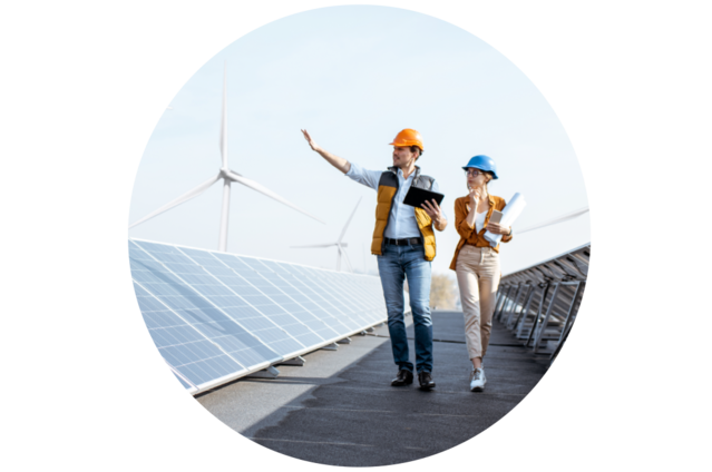 énergie verte, énergie propre, moulins à vent et panneaux solaires pour réduire les émissions de carbone